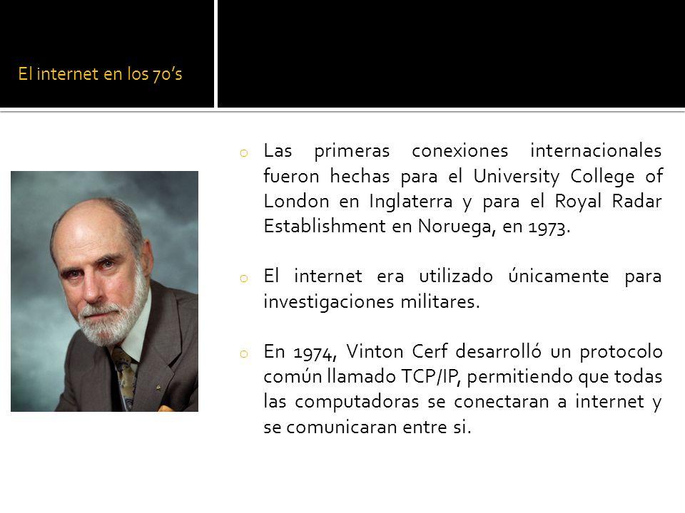 El internet era utilizado únicamente para investigaciones militares.