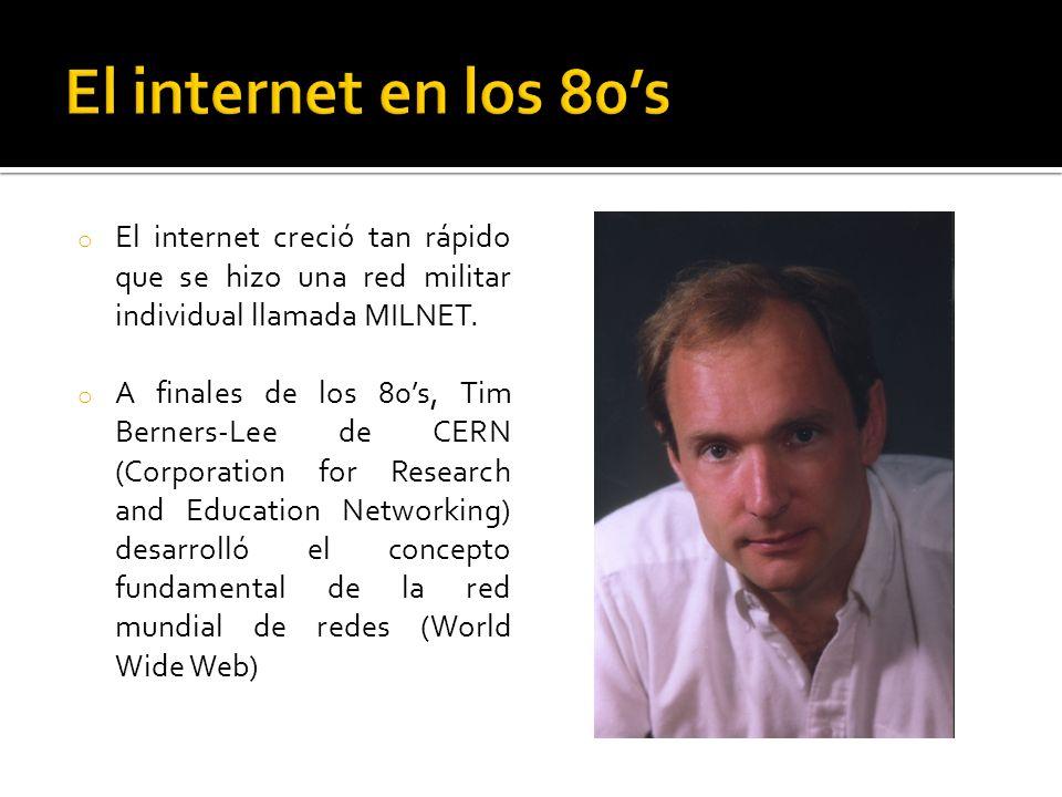 El internet en los 80's El internet creció tan rápido que se hizo una red militar individual llamada MILNET.