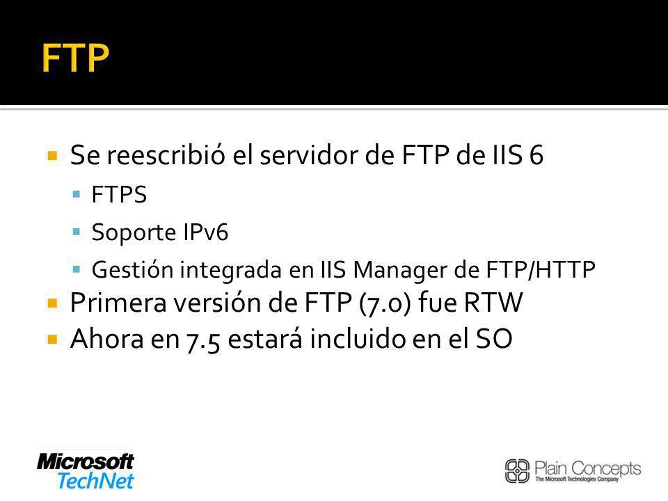 FTP Se reescribió el servidor de FTP de IIS 6