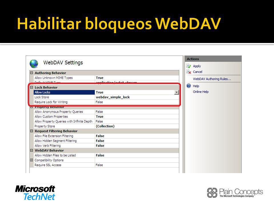 Habilitar bloqueos WebDAV