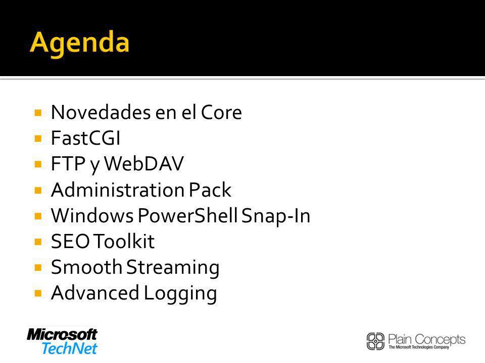 Agenda Novedades en el Core FastCGI FTP y WebDAV Administration Pack