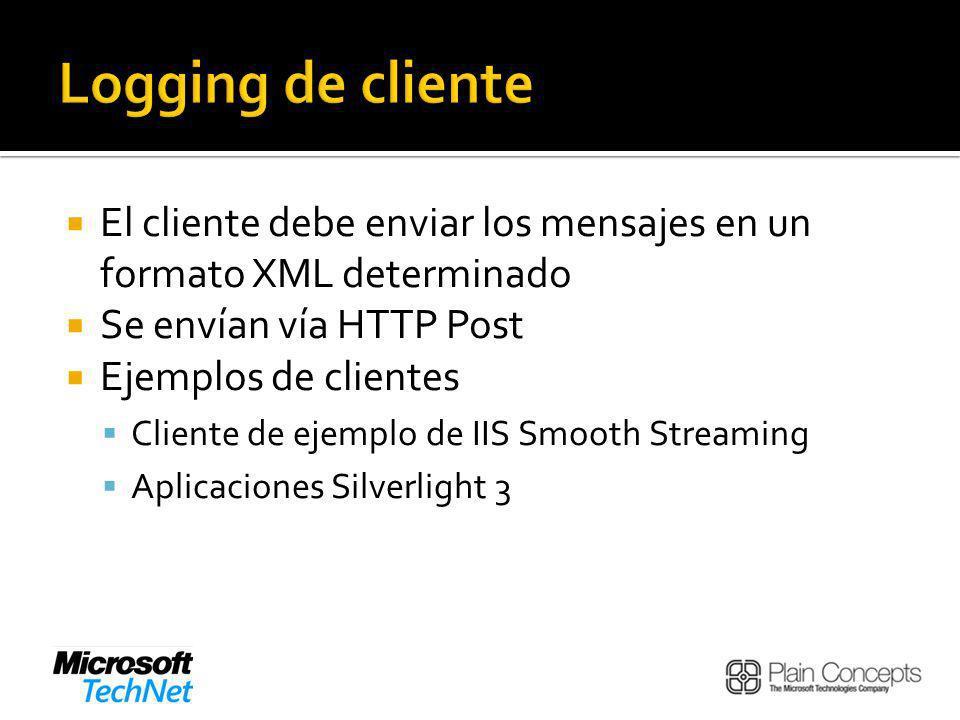 Logging de cliente El cliente debe enviar los mensajes en un formato XML determinado. Se envían vía HTTP Post.