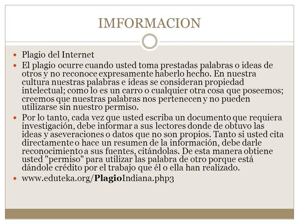 IMFORMACION Plagio del Internet