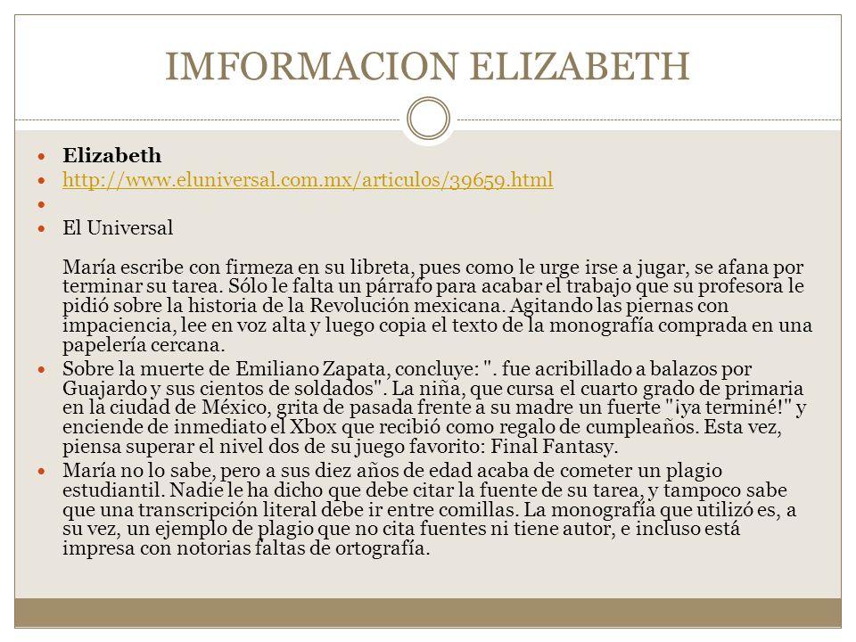 IMFORMACION ELIZABETH
