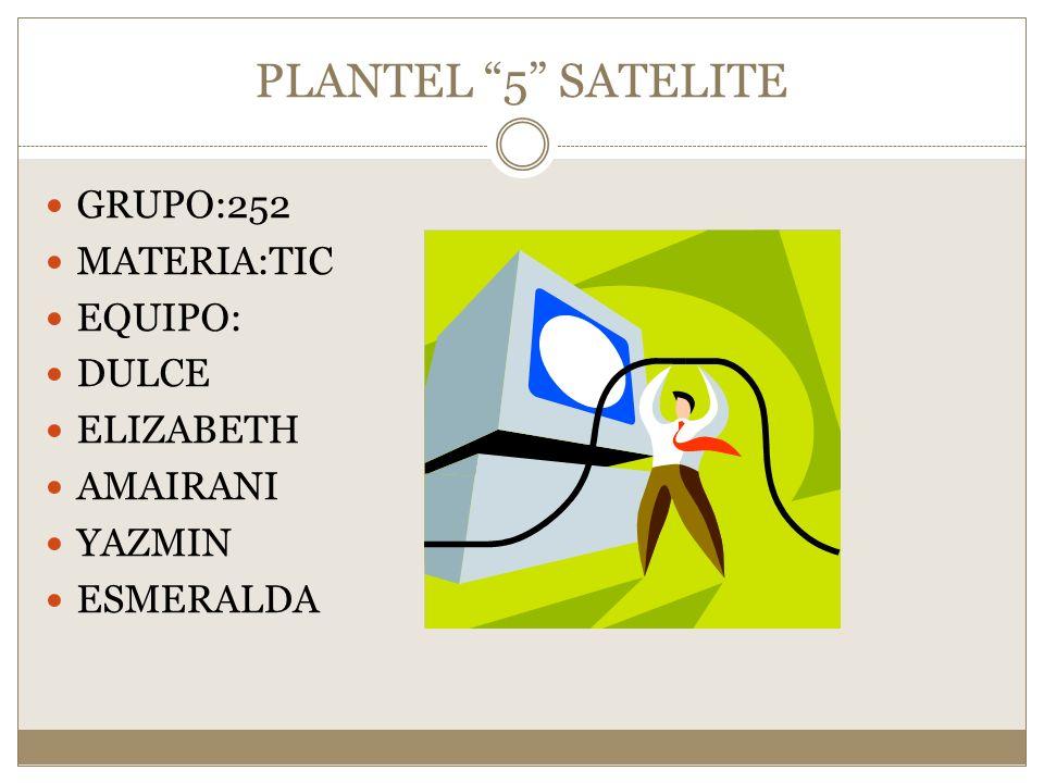 PLANTEL 5 SATELITE GRUPO:252 MATERIA:TIC EQUIPO: DULCE ELIZABETH