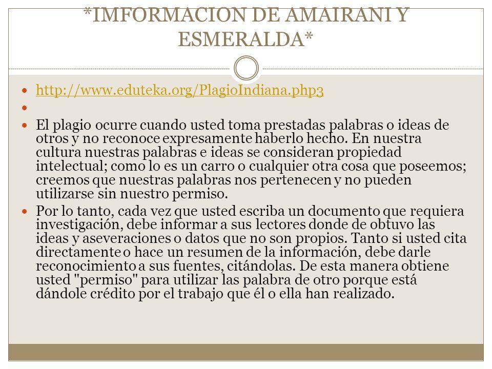 *IMFORMACION DE AMAIRANI Y ESMERALDA*
