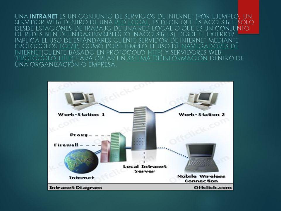 Una intranet es un conjunto de servicios de Internet (por ejemplo, un servidor Web) dentro de una red local, es decir que es accesible sólo desde estaciones de trabajo de una red local o que es un conjunto de redes bien definidas invisibles (o inaccesibles) desde el exterior.