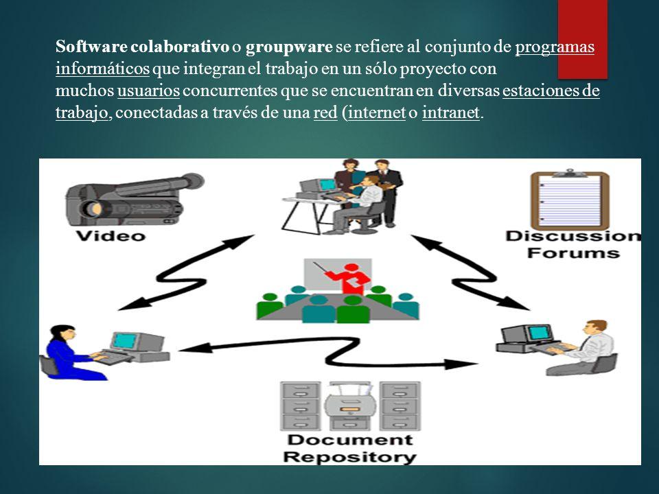 Software colaborativo o groupware se refiere al conjunto de programas informáticos que integran el trabajo en un sólo proyecto con muchos usuarios concurrentes que se encuentran en diversas estaciones de trabajo, conectadas a través de una red (internet o intranet.