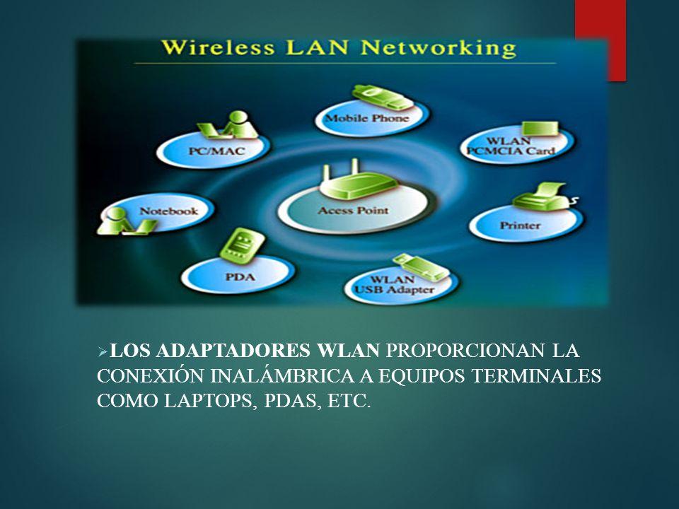 Los adaptadores WLAN proporcionan la conexión inalámbrica a equipos terminales como Laptops, PDAs, etc.
