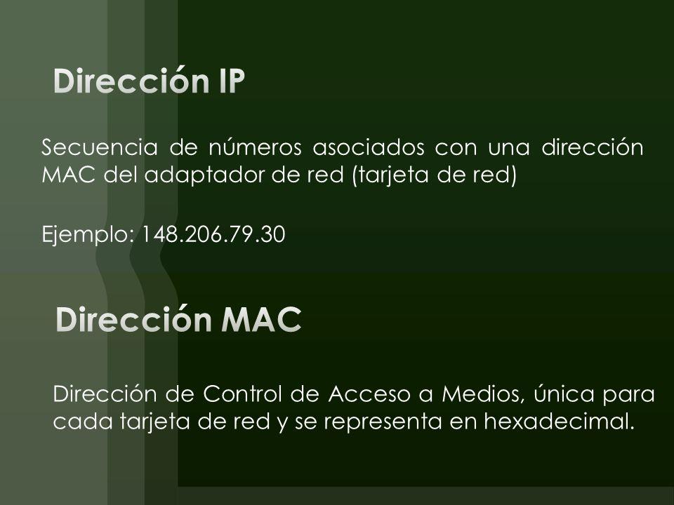 Dirección IP Dirección MAC