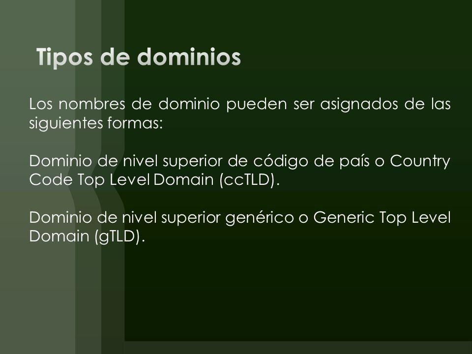 Tipos de dominios Los nombres de dominio pueden ser asignados de las siguientes formas: