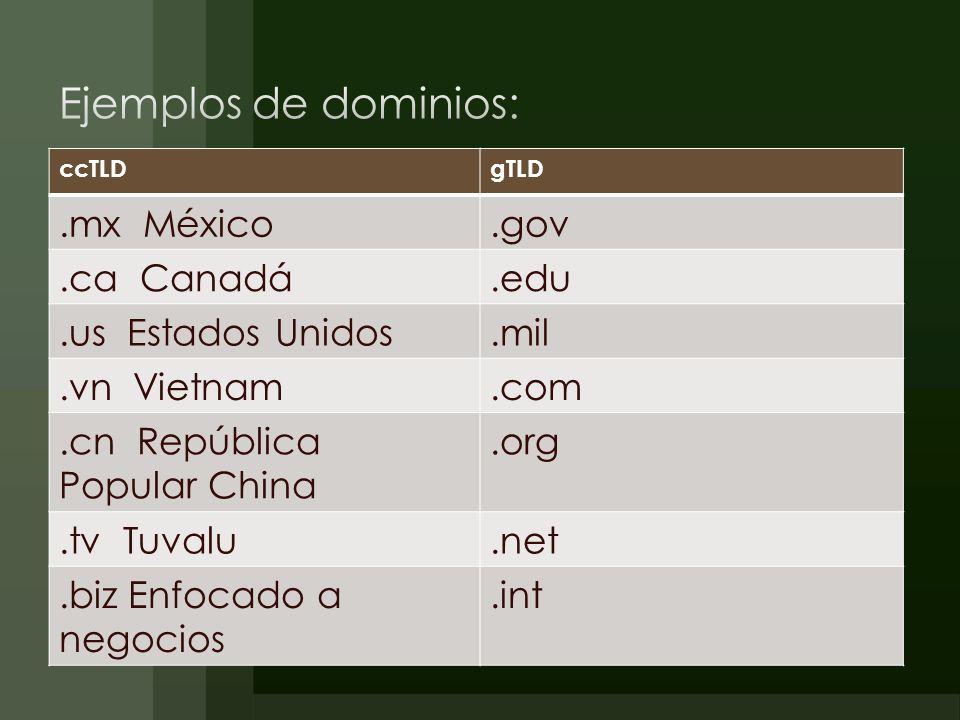 Ejemplos de dominios: .mx México .gov .ca Canadá .edu