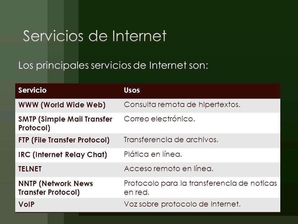 Servicios de Internet Los principales servicios de Internet son: