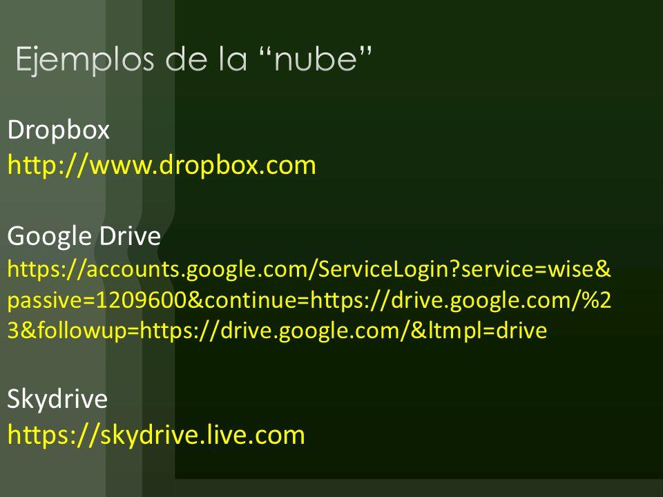 Ejemplos de la nube Dropbox http://www.dropbox.com Google Drive