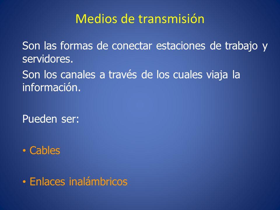 Medios de transmisión Son las formas de conectar estaciones de trabajo y servidores. Son los canales a través de los cuales viaja la información.