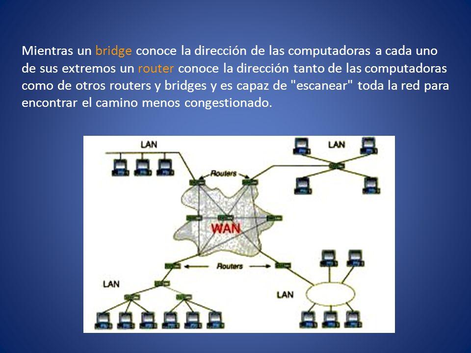 Mientras un bridge conoce la dirección de las computadoras a cada uno de sus extremos un router conoce la dirección tanto de las computadoras como de otros routers y bridges y es capaz de escanear toda la red para encontrar el camino menos congestionado.