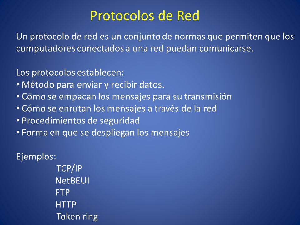 Protocolos de Red Un protocolo de red es un conjunto de normas que permiten que los computadores conectados a una red puedan comunicarse.