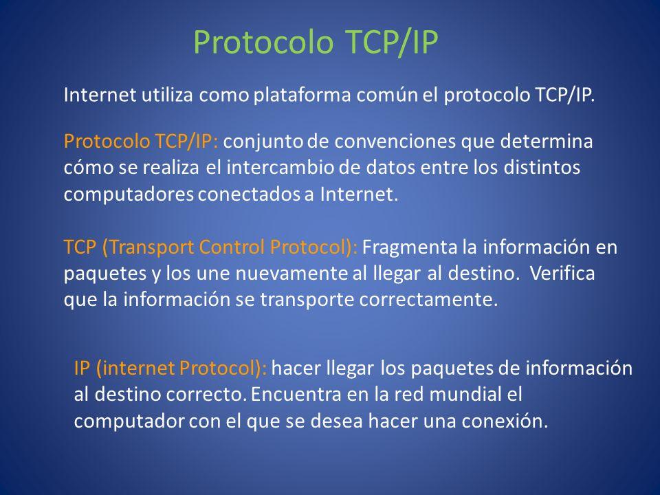 Protocolo TCP/IP Internet utiliza como plataforma común el protocolo TCP/IP.