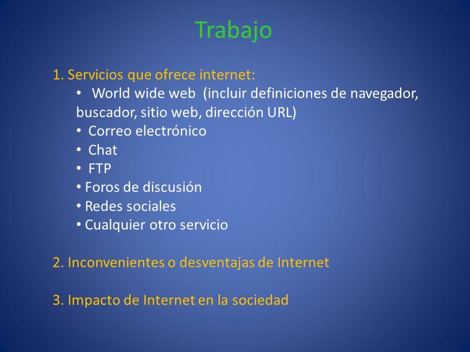 Trabajo 1. Servicios que ofrece internet: