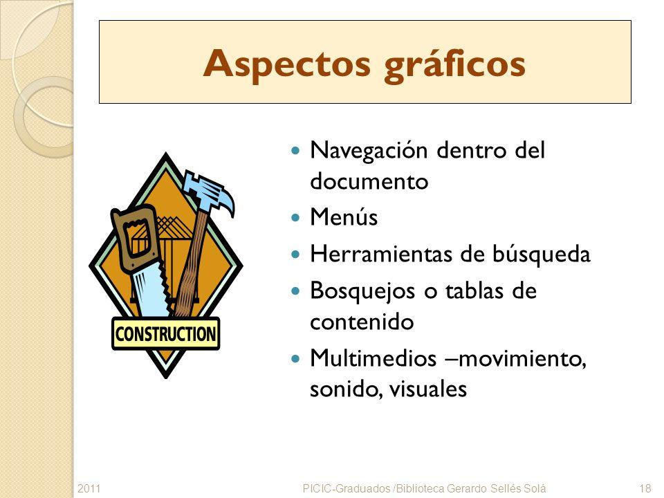 Aspectos gráficos Navegación dentro del documento Menús