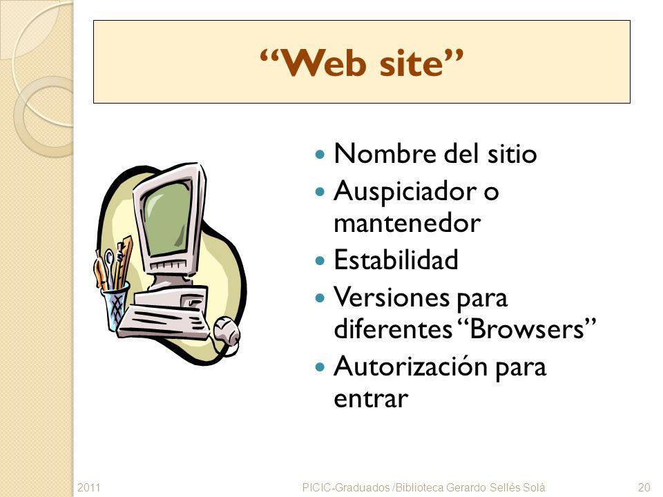 Web site Nombre del sitio Auspiciador o mantenedor Estabilidad