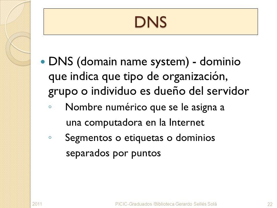 DNS DNS (domain name system) - dominio que indica que tipo de organización, grupo o individuo es dueño del servidor.