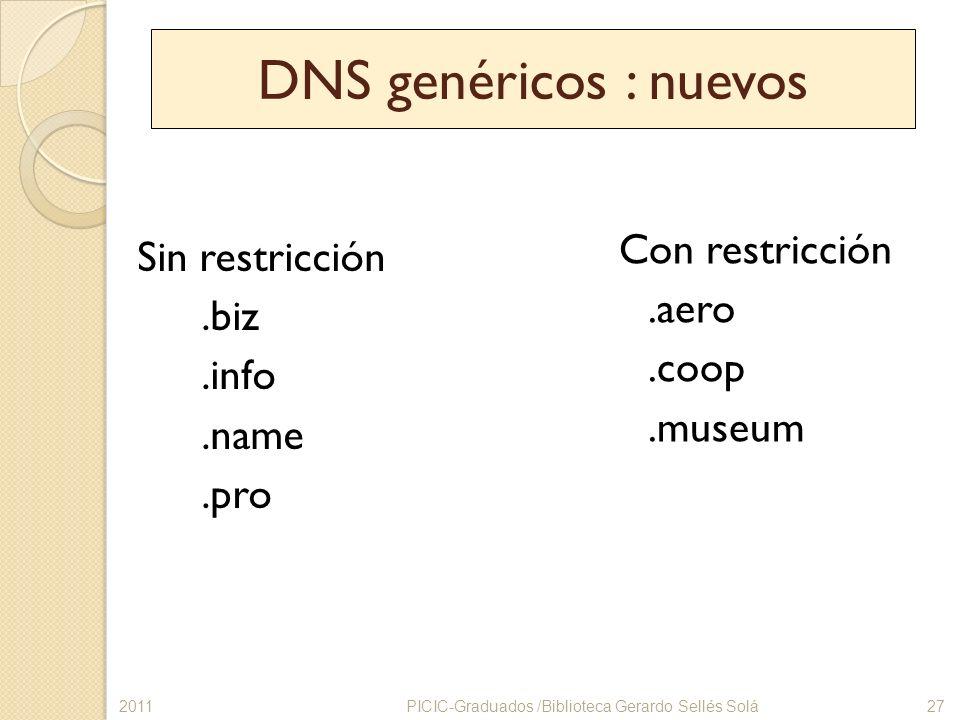 DNS genéricos : nuevos Con restricción .aero .coop .museum