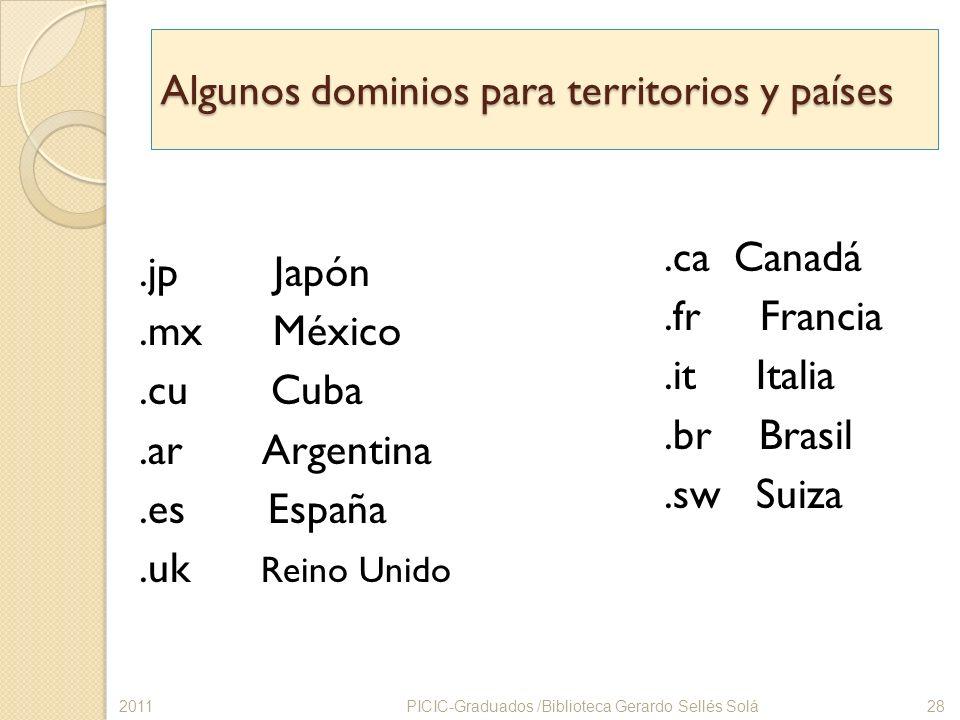 Algunos dominios para territorios y países