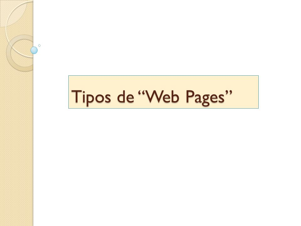 Tipos de Web Pages