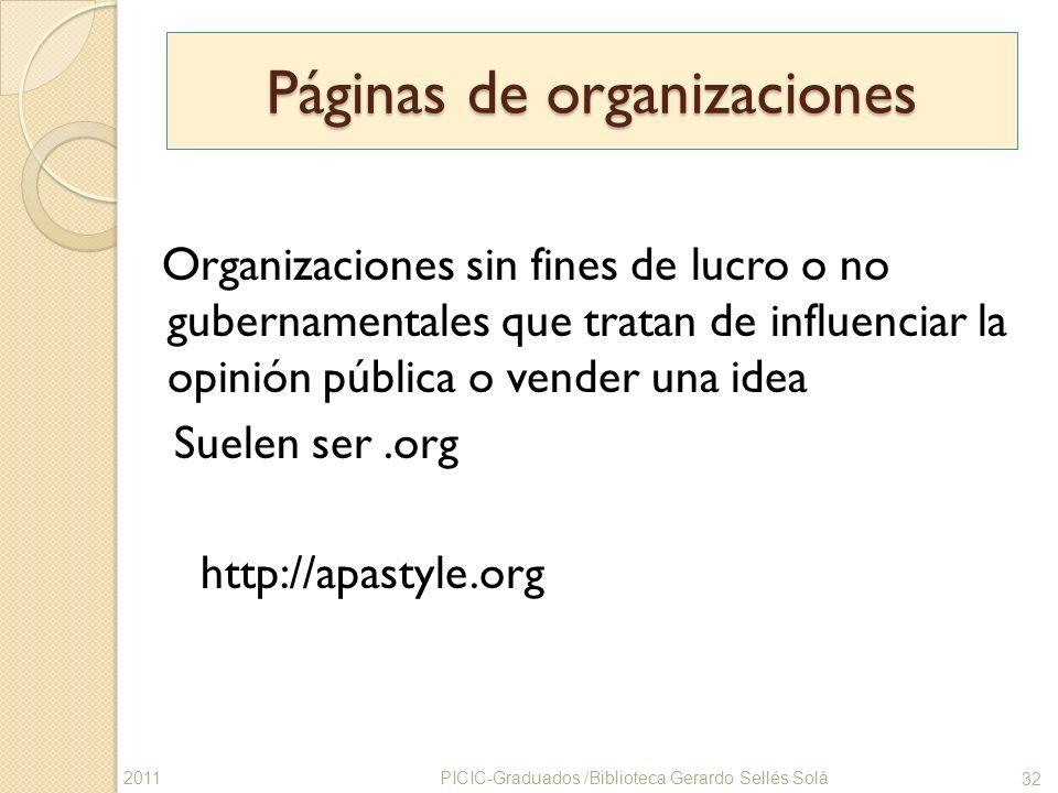 Páginas de organizaciones