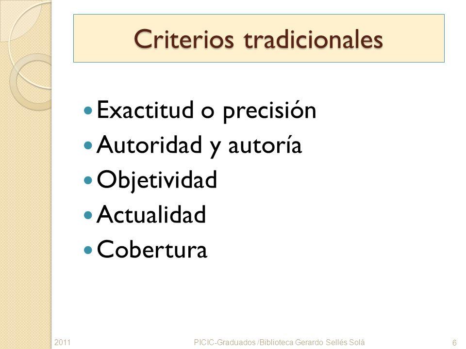 Criterios tradicionales