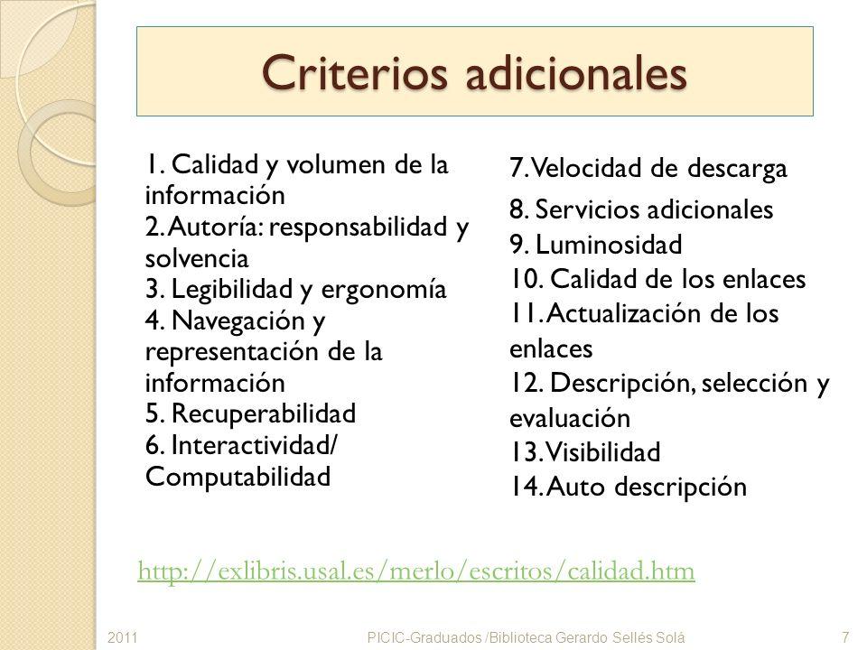 Criterios adicionales