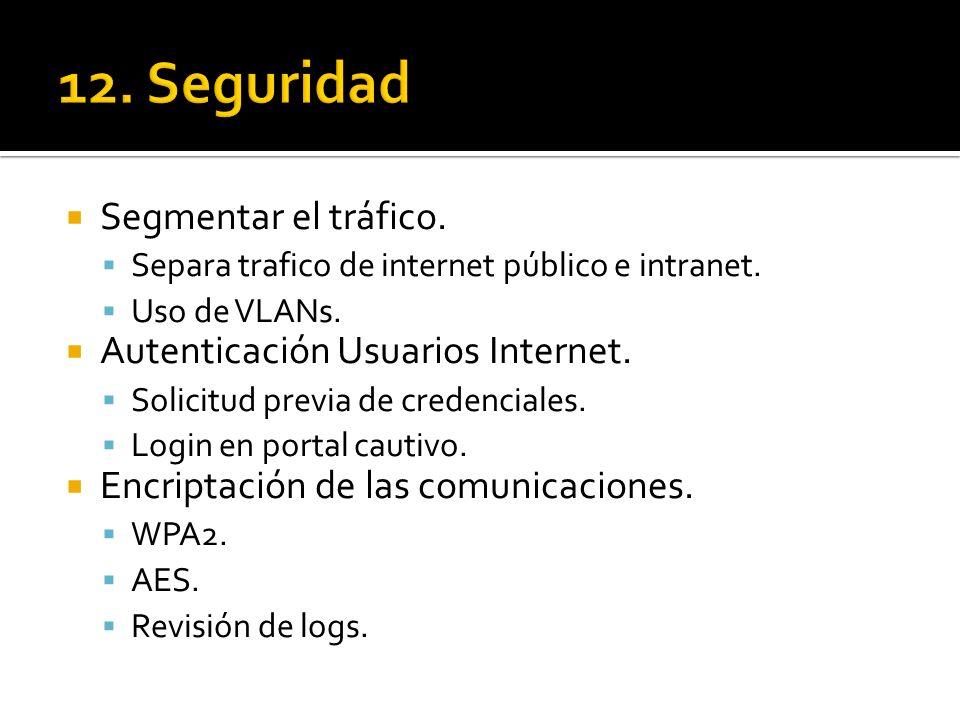 12. Seguridad Segmentar el tráfico. Autenticación Usuarios Internet.