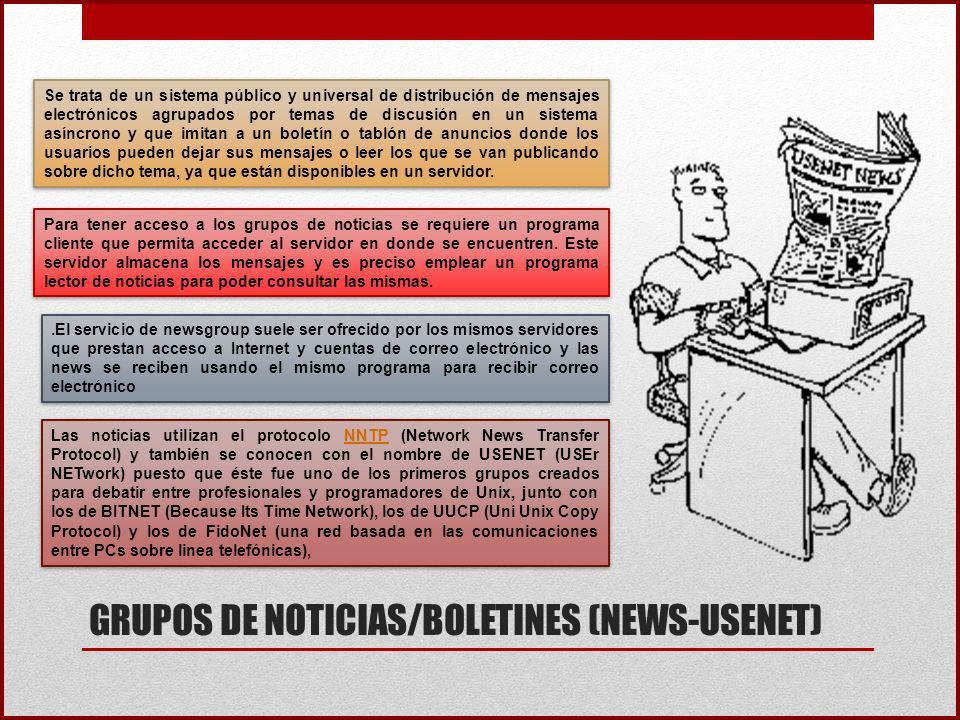 GRUPOS DE NOTICIAS/BOLETINES (NEWS-USENET)