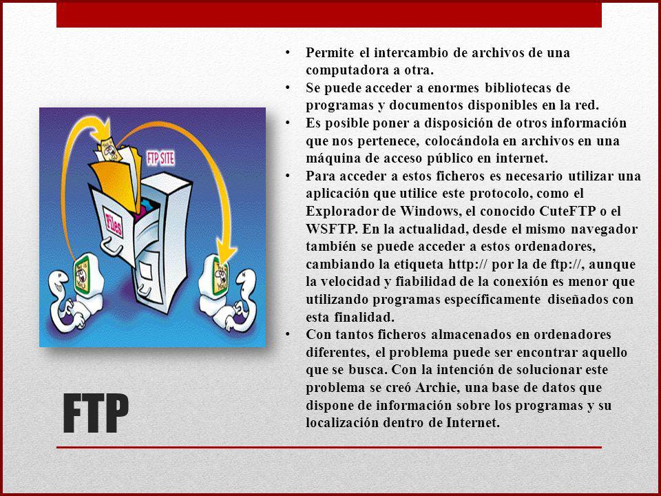 FTP Permite el intercambio de archivos de una computadora a otra.