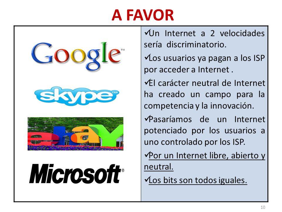 A FAVOR Un Internet a 2 velocidades sería discriminatorio.