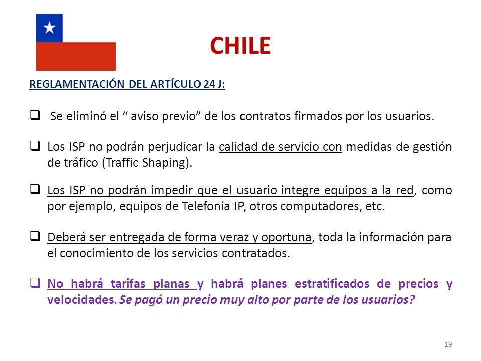 CHILE REGLAMENTACIÓN DEL ARTÍCULO 24 J: Se eliminó el aviso previo de los contratos firmados por los usuarios.