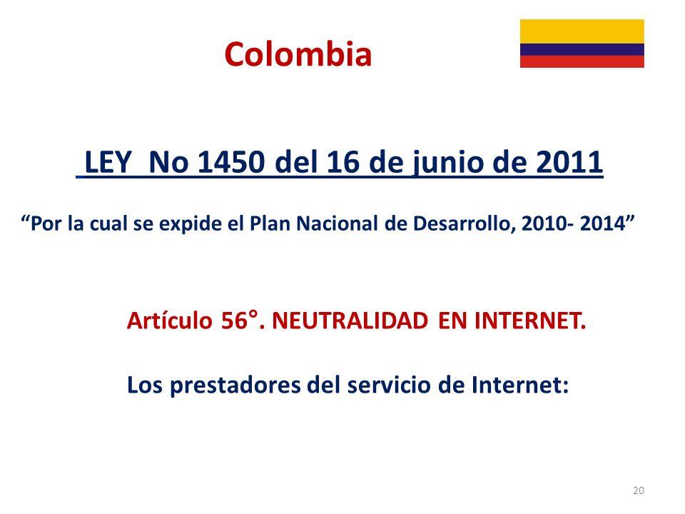 Colombia LEY No 1450 del 16 de junio de 2011
