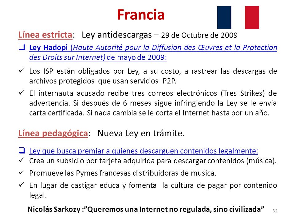 Francia Línea estricta: Ley antidescargas – 29 de Octubre de 2009