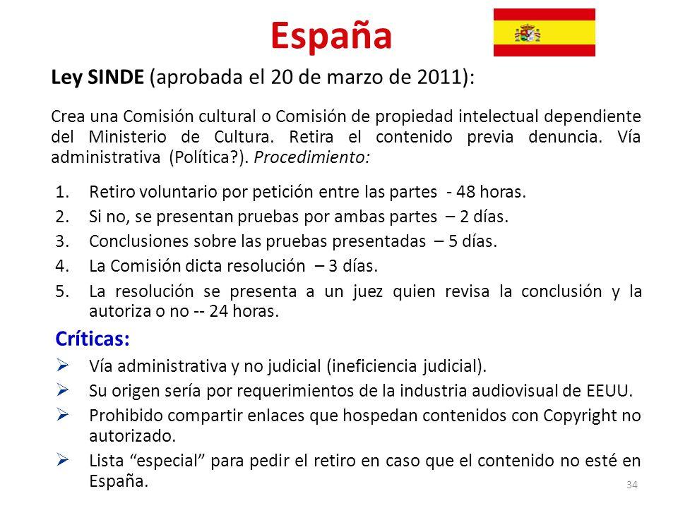 España Ley SINDE (aprobada el 20 de marzo de 2011): Críticas: