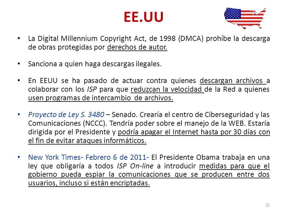 EE.UU La Digital Millennium Copyright Act, de 1998 (DMCA) prohíbe la descarga de obras protegidas por derechos de autor.