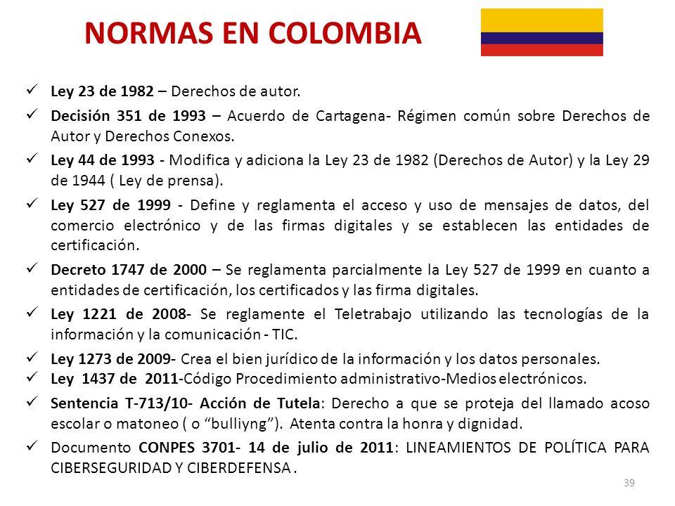 NORMAS EN COLOMBIA Ley 23 de 1982 – Derechos de autor.