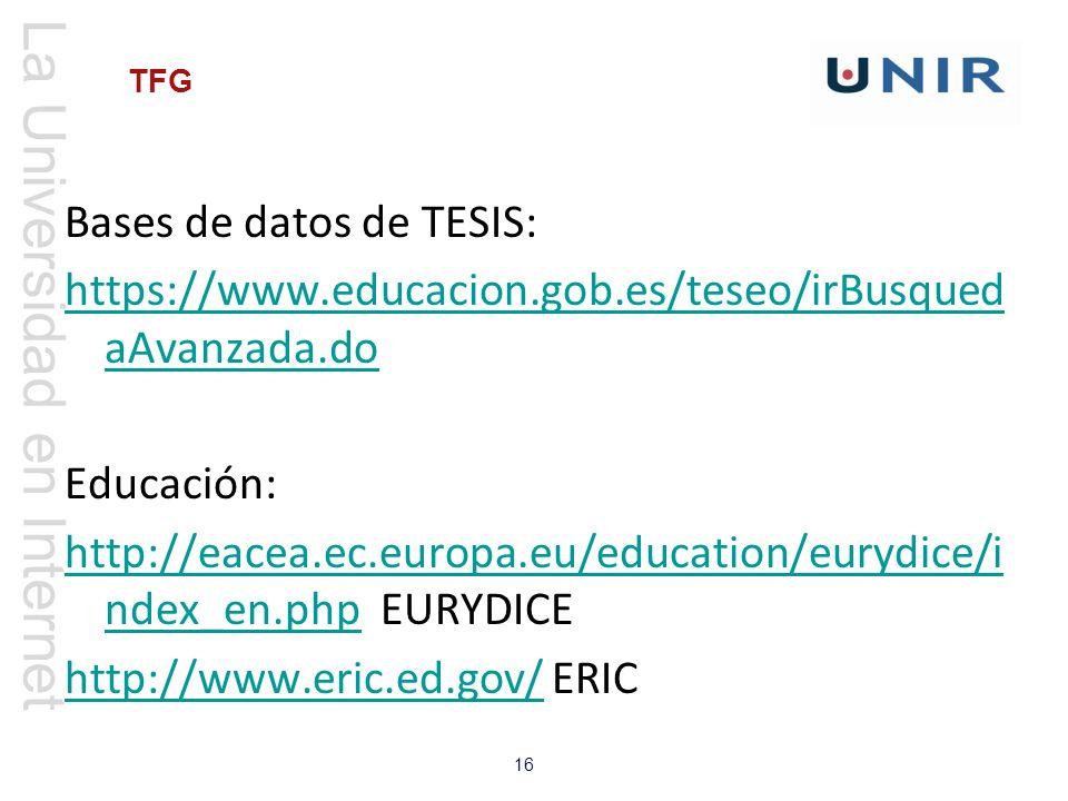 Bases de datos de TESIS: