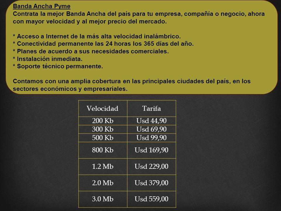 Velocidad Tarifa 200 Kb Usd 44,90 300 Kb Usd 69,90 500 Kb Usd 99,90
