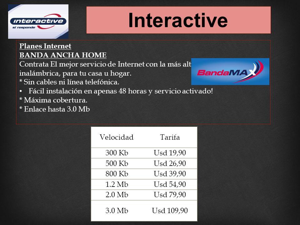 Interactive Planes Internet BANDA ANCHA HOME