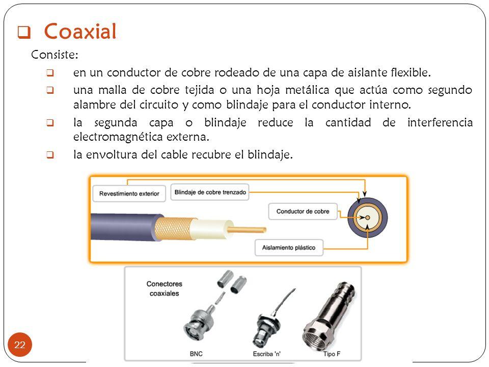 Coaxial Consiste: en un conductor de cobre rodeado de una capa de aislante flexible.