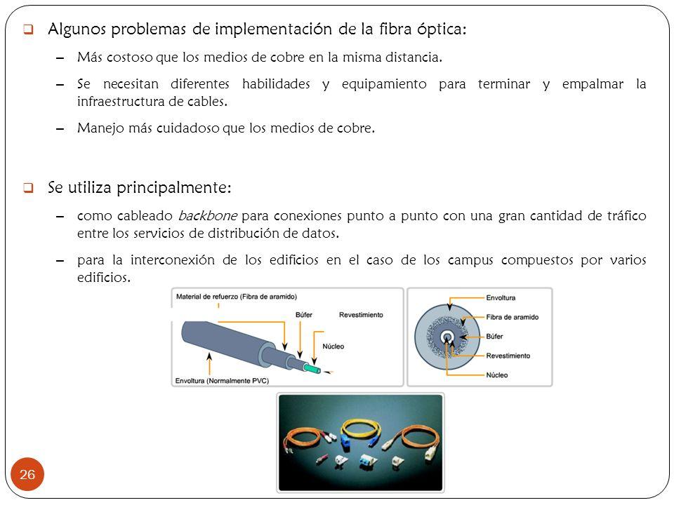 Algunos problemas de implementación de la fibra óptica: