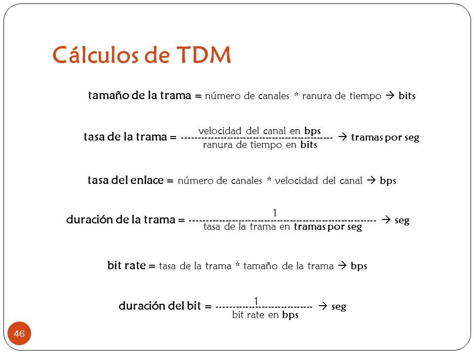 Cálculos de TDM M. en C. Gabriela Campos. tamaño de la trama = número de canales * ranura de tiempo  bits.