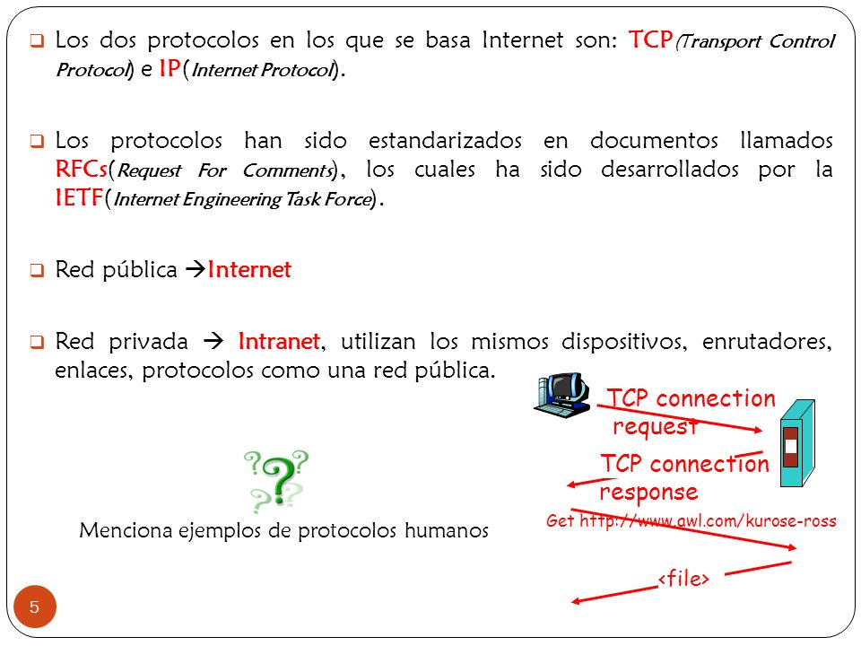 Menciona ejemplos de protocolos humanos
