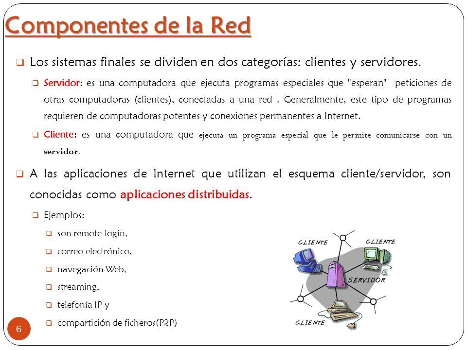 Componentes de la Red Los sistemas finales se dividen en dos categorías: clientes y servidores.